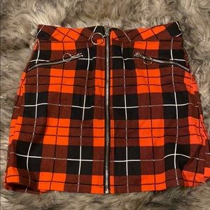 Dolls Kill, Red plaid zip up skirt. New with tags